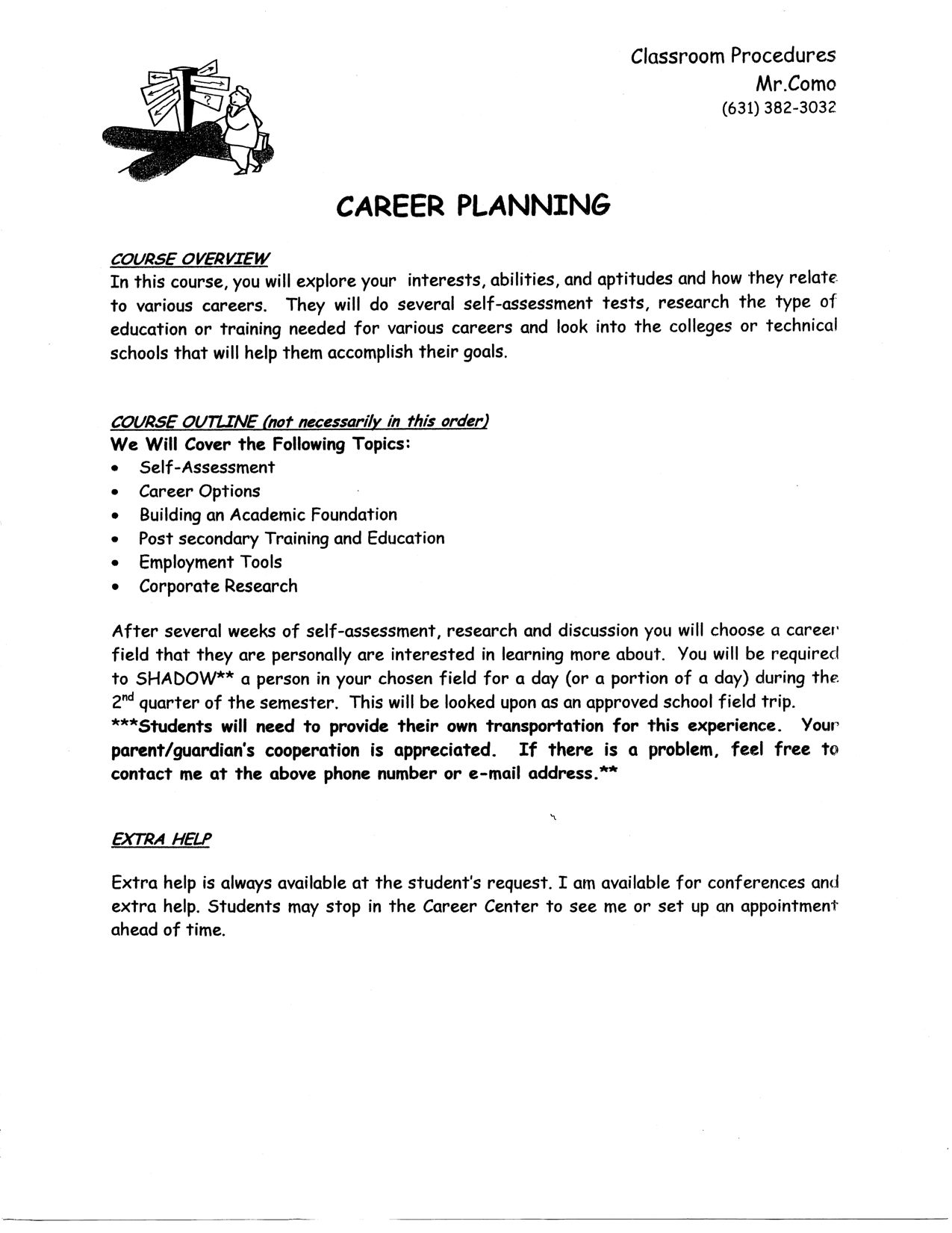 career planning course outline mr como s career planning blog career planning course outline